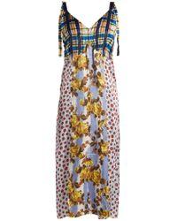 Marni - V-neck Contrasting-print Midi Dress - Lyst