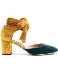 Rochas | Block-heel Velvet And Brocade Court Shoes | Lyst