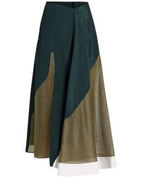 Esteban Cortazar - Lamé-panelled Silk-crepe Skirt - Lyst