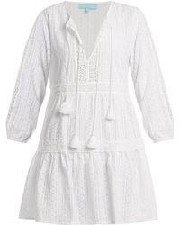Melissa Odabash - Reid V Neck Embroidered Cotton Dress - Lyst