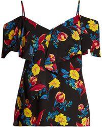 Diane von Furstenberg - Silese Floral-print Cold-shoulder Silk Top - Lyst