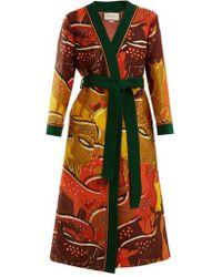 Gucci - Fawn-print Tie-waist Wool-blend Robe - Lyst