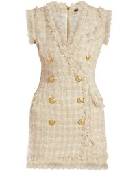 Balmain - Tweed Frayed Edge Mini Dress - Lyst