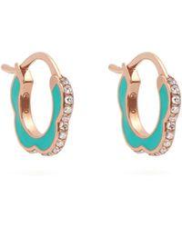Raphaele Canot   Happy Deco Diamond, Enamel & Rose-gold Earrings   Lyst
