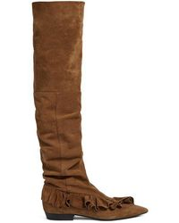 JW Anderson - Ruffled Suede Slouched Over-the-knee Boots - Lyst