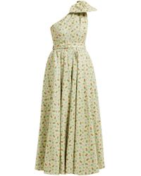 Alessandra Rich - Belted Pineapple Print Cotton Blend Gown - Lyst