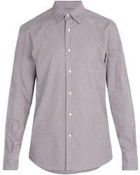 Ermenegildo Zegna - Micro Gingham Checked Cotton Shirt - Lyst
