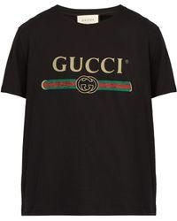 Gucci Fake Logo Print Cotton T Shirt