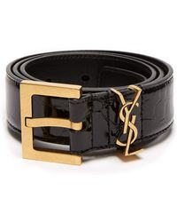 Saint Laurent - Monogram Crocodile Effect Patent Leather Belt - Lyst