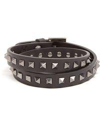 Valentino - Wraparound Rockstud Embellished Leather Bracelet - Lyst
