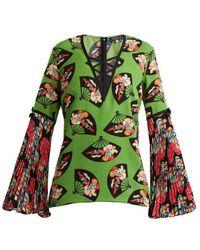 Andrew Gn - Flared-sleeve Fan-print Silk Top - Lyst