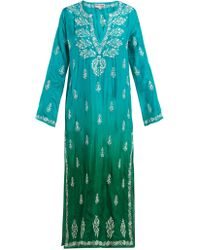 Juliet Dunn - Sequin Embellished Embroidered Silk Kaftan - Lyst