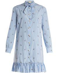 Gucci - Bunny Fil Coupé Striped Cotton-poplin Dress - Lyst