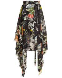 Preen By Thornton Bregazzi - Alanis Dandelion-print Silk-devoré Skirt - Lyst