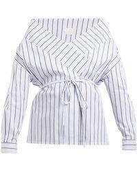 Stella Jean - Tie Waist Striped Cotton Wrap Top - Lyst