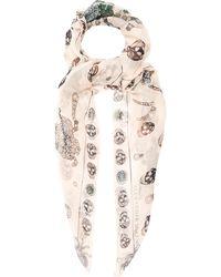 Alexander McQueen - Jewelled-bug And Skull-print Silk Scarf - Lyst