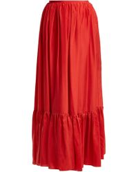 Loup Charmant - Flores Tiered Silk Skirt - Lyst