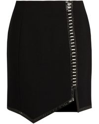 Mugler   Leather-trimmed Wool Mini Skirt   Lyst