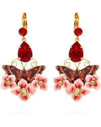 Dolce & Gabbana - Butterfly And Crystal Drop Clip-on Earrings - Lyst