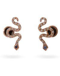 Ileana Makri - Little Snake 18kt Rose Gold And Sapphire Earrings - Lyst