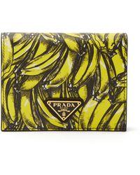Prada - Banana-print Saffiano-leather Wallet - Lyst