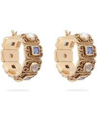 Jade Jagger - Quartz, Amethyst & Pearl 18kt Gold Hoop Earrings - Lyst