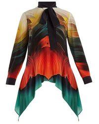 Mary Katrantzou - Hearts Feather-print Silk-crepe Blouse - Lyst