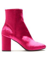 Balenciaga Ville Velvet Bootie - Pink