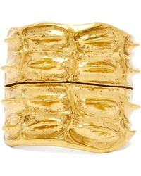 Saint Laurent - Anamalier Crocodile Gold Tone Cuff - Lyst