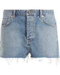 Raey - Hawaii Raw Cut Distressed Denim Shorts - Lyst