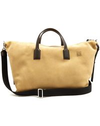 Loewe - Suede And Leather Holdall - Lyst