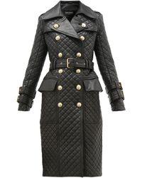 Balmain Trench-coat en cuir matelassé à double boutonnage - Noir