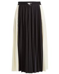 Valentino - High-rise Panelled Pleated Jersey Midi Skirt - Lyst