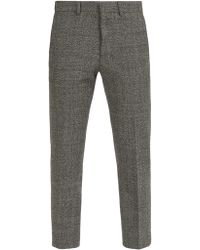 AMI - Cropped Wool Blend Trousers - Lyst