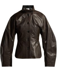 Lemaire - Single-breasted Leather Jacket - Lyst