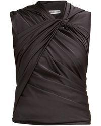 Balenciaga - Gathered Jersey Top - Lyst