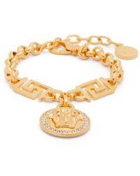 Versace Crystal Medusa Head Greca Chain Bracelet - Metallic