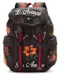 Gucci - Floral-appliqué Techno-canvas Backpack - Lyst