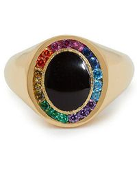 Jessica Biales - Rainbow Candy 18kt Gold & Sapphire Signet Ring - Lyst