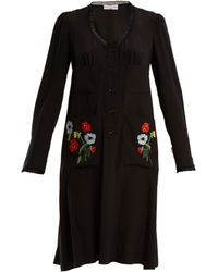 Sonia Rykiel - Floral Embroidered Lace Trimmed Silk Dress - Lyst
