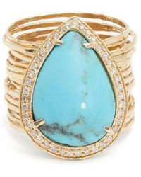Jacquie Aiche - - Diamond, Turquoise & Yellow Gold Ring - Womens - Blue - Lyst