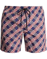 Fendi - Logo And Geometric-print Swim Shorts - Lyst