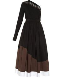 Fendi - Wave One-shoulder Cotton Midi Dress - Lyst