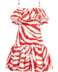 MSGM - Zebra Print Ruffled Matelassé Dress - Lyst