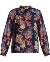 Tibi - Shirred Neck Paisley Print Cotton Top - Lyst