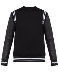 f8892fabe7e9c Lyst - Givenchy Star And Stripe Leather Front Sweatshirt in Black ...