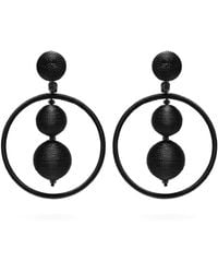 Oscar de la Renta - Flower Embellished Hoop Clip Earrings - Lyst