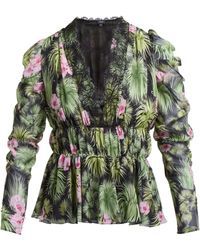 Giambattista Valli - Floral Print Gathered Silk Chiffon Blouse - Lyst