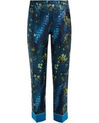 F.R.S For Restless Sleepers Etere Peacock Print Silk Trousers - Blue