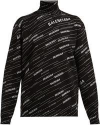 Balenciaga - Logo Intarsia Wool Blend Jumper - Lyst